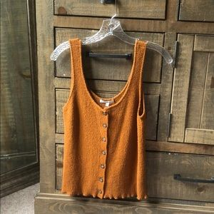 Madewell burnt orange tank with buttons